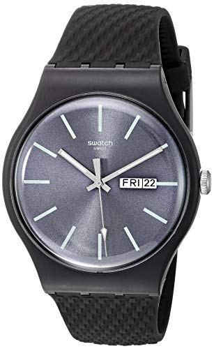 Swatch Herren Analog Quarz Uhr mit Silikon Armband SUOM708