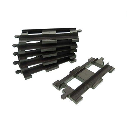 6 Duplo Schienen Schiene gerade grau Lego E49