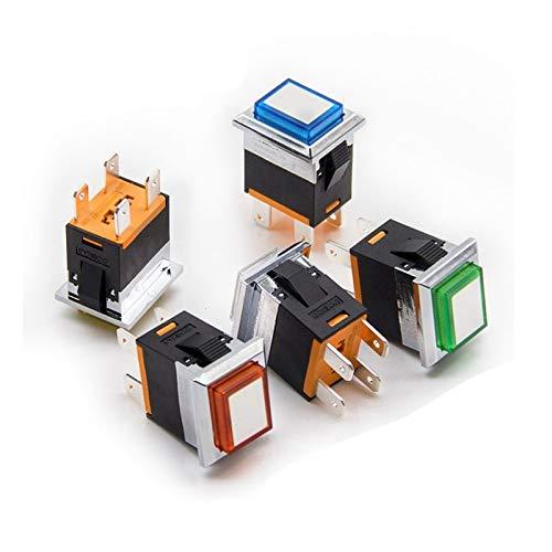 DONGMAISM Interruptor basculante Metal del rectángulo Interruptor oscilante 15A / 250V eléctrico Normalmente Abierto Poder Enclavamiento/Reset con la lámpara de botón de 4 Pines