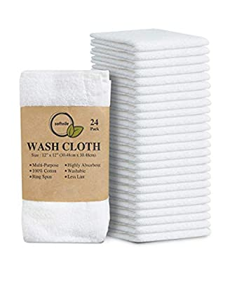 100% Cotton Ring Spun Wash Cloths – Bulk Pack of 24 Pieces Wascloths – 12x12 Inches – Wash Cloth for Face, Highly Absorbent, Soft and Face Towels