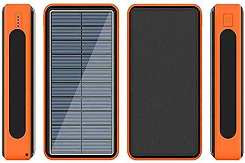 BEILA Solar Power Bank 100000Mah Chargeur De Secours Portable Powerbank, Batterie Externe Haute Capacité avec Indicateur D'état LED, pour Iphone, Android, Divers Modèles,Orange