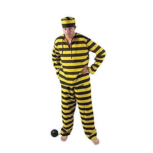 P 'tit Clown 86510Kostüm Erwachsene Luxe Gefangene–Einheitsgröße–Schwarz/Gelb