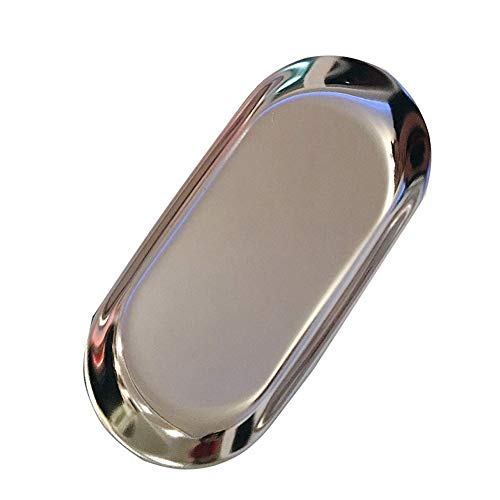 Zhenwo Dessert Tray Mirror Candles Plates Stainless Steel Butter Dish Galvanized Metal Gold Tray for Jewellery Storage Decoration Afternoon Tea,Silber