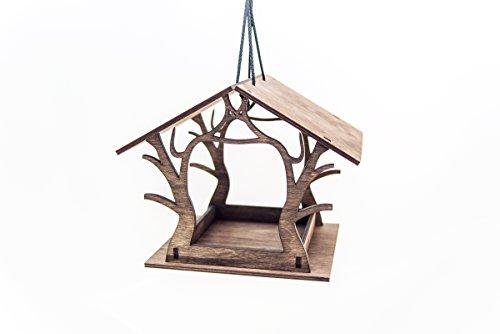 Hängende Vogelhäuschen - hölzernes Vogelhäuschen - Gartendekoration - braunes Vogelhäuschen – Vogelhaus - Laser geschnittenes Vogelhäuschen - Einweihungsparty Geschenk