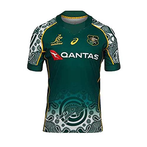 YAQA Australia Home/Away Rugby Jersey, Equipo Nacional De Australia Sevens Rugby T-Shirts, Polo De Manga Corta para Hombres con Bordado De Moda Polos green-4XL