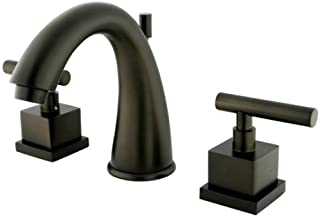 Kingston Brass KS2965CQL Claremont 8-Inch Widespread Lavatory Faucet with Brass Pop-Up, Oil Rubbed Bronze