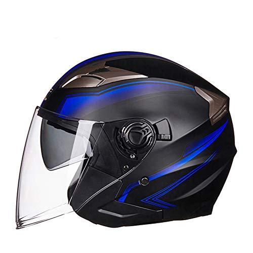 LXHG Jet Motorcycle Helmet Retro Dual Visor Motorcycle Pilot Helmet Vintage Moped Helmet DOT Approved Chopper Bike Helmet Motorbike Cruiser Helmet for Men Women Adult,Matte Black Blue,M