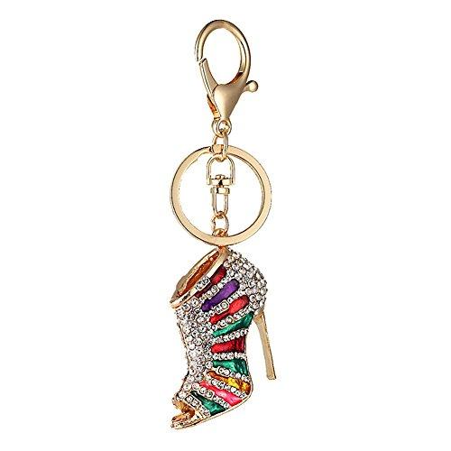 Kanggest 1 pièce Porte-clés en Alliage Pendentif strass Talons hauts Porte Clef pour Femme Sac Porte Cle pour Voiture/Téléphone/Mariage/Pochette(coloré)