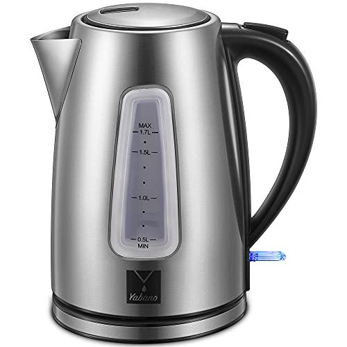 Yabano Wasserkocher Edelstahl 1,7 L, 2200W Elektrischer Wasserkocher mit Kalkfilter, Kabellos, Abschaltautomatik, ideal für Tee, Kaffee, Babynahrung, BPA-Frei, Schwarz