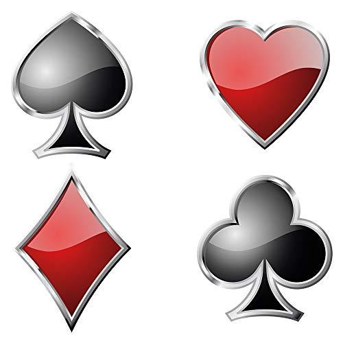 Wandtattoo Wandsticker Poker Spielkarten Kreuz, Pik, Herz und Karo Poker Motiv