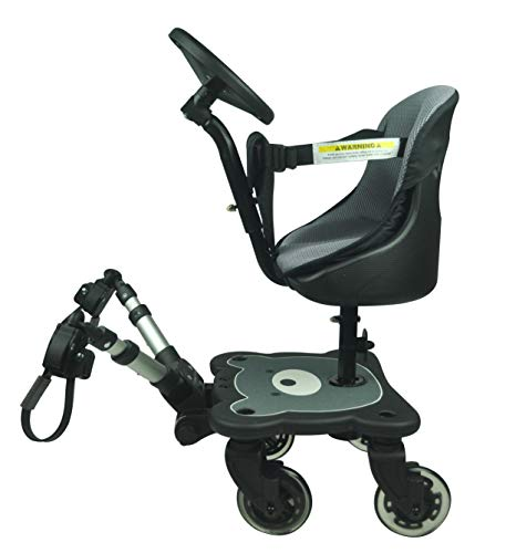 Roma 4 Rider Toddler Seat & Steering Wheel Ride On Board with 4 Wheels to fit All Prams, Pushchairs and Buggies