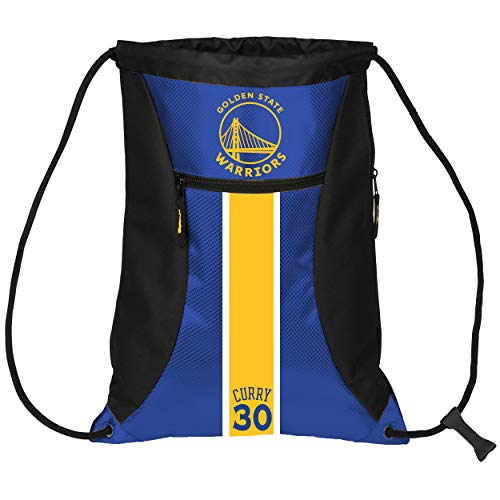FOCO Golden State Warriors Striped High End Diagonal Zipper Drawstring Backpack Gym Bag - Stephen Curry #30