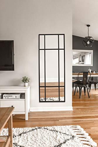 Direkte Import Standspiegel Ganzkörperspiegel, Schwarz, aus Metall – Rechteckiger Ankleidespiegel | [H 160* B 60* T 3cm] |Designed in Dänemark | Garderobenspiegel groß, lang, stehend | quer und hoch