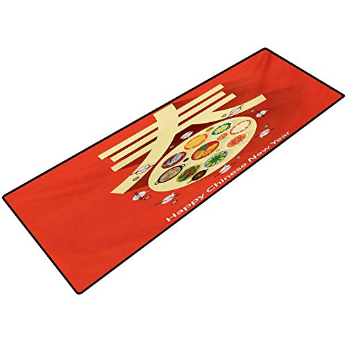 Chinese New Year Bathroom Rug Traditional Family Reunion Dinner Table with Food for The Lunar Festival Area Rugs for The Entrance Way Indoor Mats 24x48 Inch