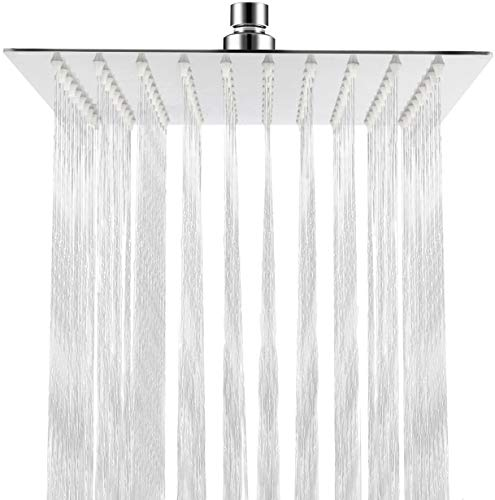 Qliver - Cabezal de ducha cuadrado de lluvia de 20,32 cm, cabezal de ducha de alta presión de acero inoxidable 304 ultra fino y potente cabezal de ducha de alta presión