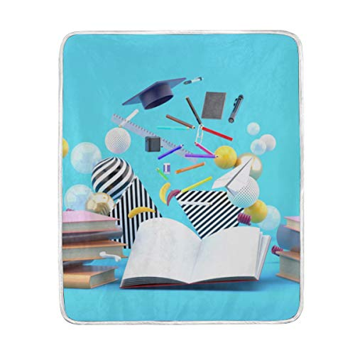 "HUCG Throw Blanket School Supplies Floating Out Book Amidst Soft Blanket Warm Plush Blanket for Sofa Chair Bed Office Gift Best Friend Women Men 50""x60"" Warm Blanket Throw"