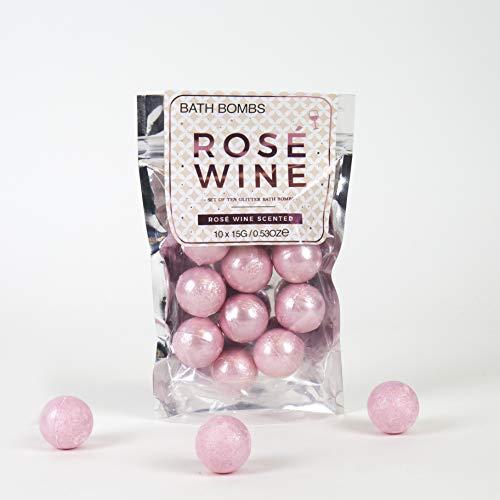 Gift Republic Rosé Wein-Badekugeln, 10 Stück