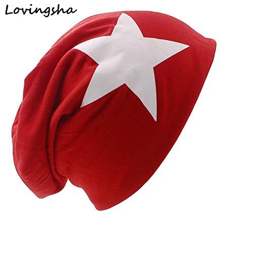 Mdsfe herfst en winter dames hoed grote ster dunne gebreide muts schedel vrouwelijke muts k2468 rood-A2468