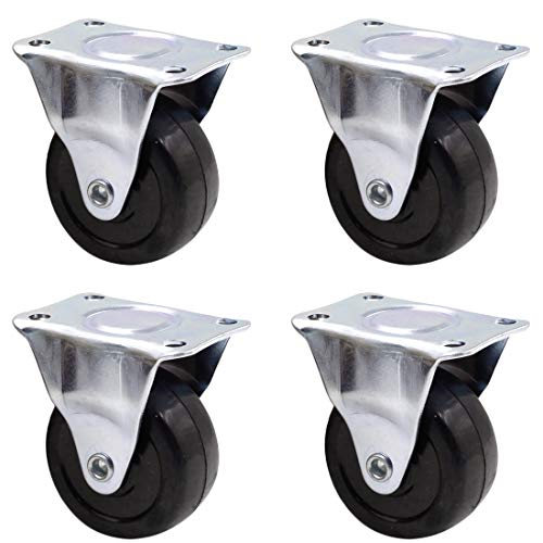 ZXHAO 4Pcs Casters Heavy Duty 2 inch Rubber Black Caster Wheels with Rigid Fixed Non-Swivel Top Plate for Furniture