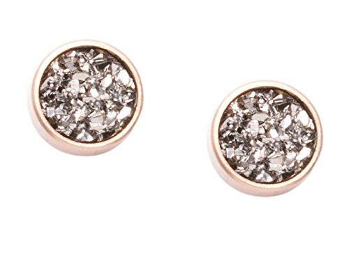 Happiness Boutique Women Druzy Earrings Rose Gold Round Earrings Delicate Ear Studs