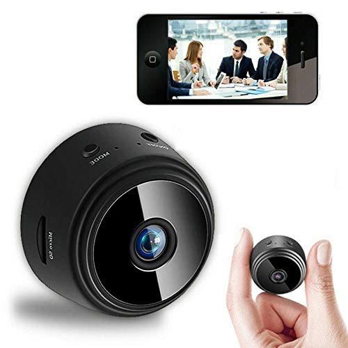 0℃ Outdoor Mini Cámara IP WiFi HD 1080p, Cámara de Seguridad Inalámbrica Remota Oculta WiFi, Detección de Movimiento y Grabación en Bucle Continuo, Cámara de Vigilancia de Seguridad Portátil,Negro