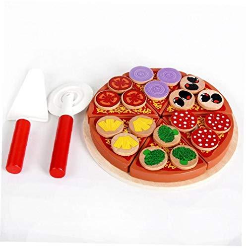 Oulensy 27pcs / Set Juguetes de Madera para niños de los niños de Cocina Juego de imaginación Set de Juguetes de Madera simulación Pizza bebé Aprendizaje Temprano Juego