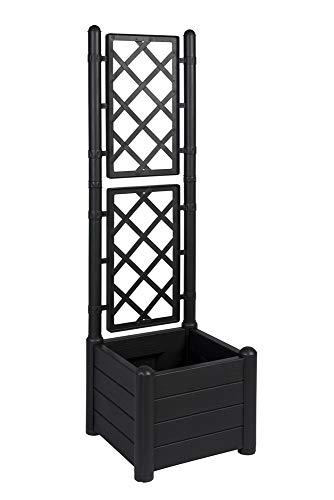 XL Rankgitter, Spalier mit Pflanzkasten aus robustem Kunststoff in Anthrazit/Grau. Topp für Garten, Terrasse und Balkon! (schmale)