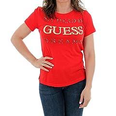 Guess Camiseta Manga Corta Mujer Roja de Algodón