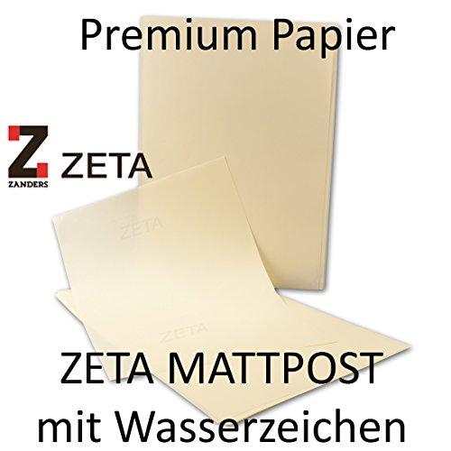 100 Blatt - DIN A4 Premiumpapier, Zanders ZETA Mattpost ELFENBEIN, 210 x 297 mm, 80 g/qm - Mit Wasserzeichen