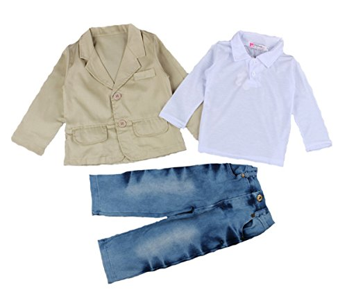 Brcus Baby Boy 3pcs Gentleman Blazer Suit and Jeans Pants With White Shirts Set Size100