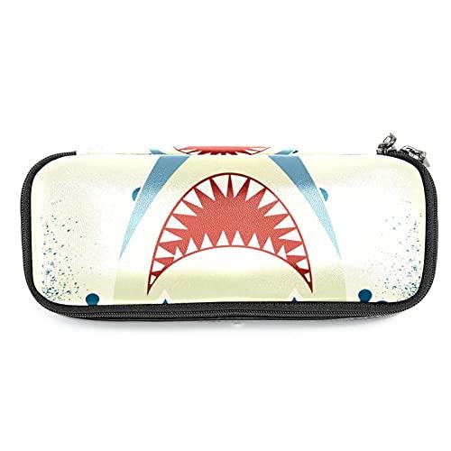Estuche de lápices retro con diseño de tiburón, gran capacidad para rotuladores, bolsa organizadora de maquillaje, para escuela, oficina, adulto y niña