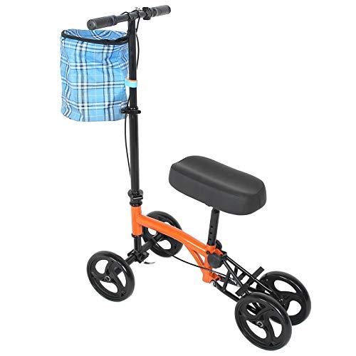 Andador Rodilla Scooter, Accesorios para Andadores con Ruedas de Doble, Patinete de Rodilla Médico Plegable de 180 °con Frenos y Cesta para discapacitados Cirugía de Tobillos Entrenamiento 136 Kg