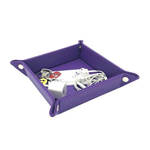 unionbasic vollständig PU Leder Schmuck Catchall Schlüssel Telefon Coin-Box Valet Tablett ändern Caddy Nachttisch Aufbewahrungsbox, PU-Leder, violett, S