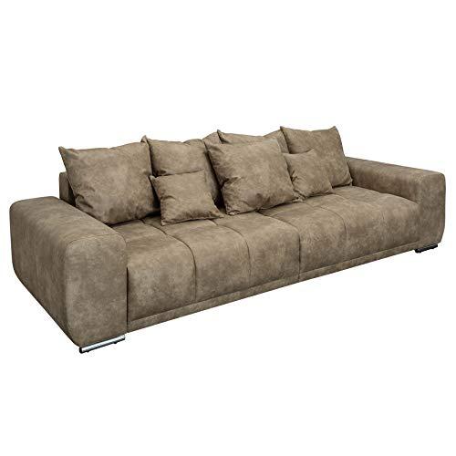 Invicta Interior Modernes XXL Sofa ELEGANCIA 280cm Taupe inkl. Kissen Bigsofa Couch mit Federkern