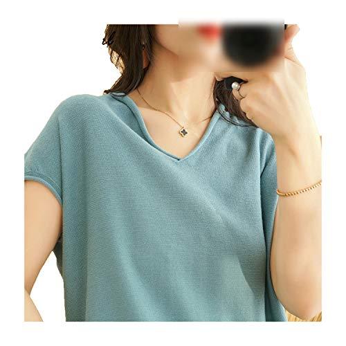 T-shirt da donna estiva con scollo a V lavorato a maglia, da donna, in cotone, colore nero, a maniche corte, taglia asiatica Bean Green S