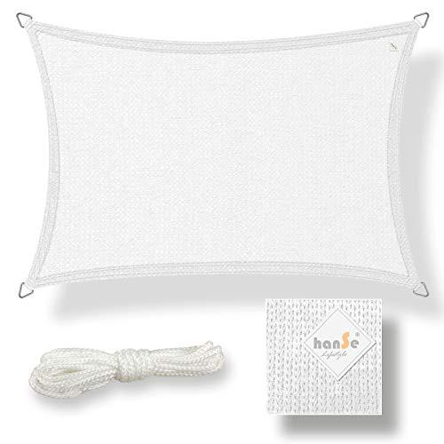 hanSe® Marken Sonnensegel Sonnenschutz Wetterschutz Wetterbeständig HDPE Gewebe UV-Schutz Rechteck 3x4 m Weiß