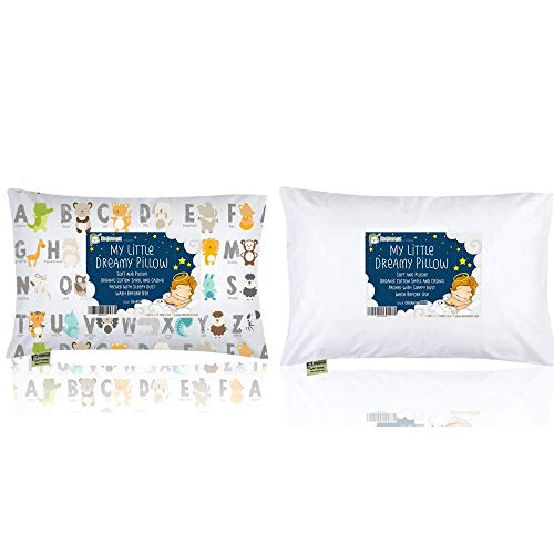 Toddler Pillow with Soft Organic Cotton Pillowcase - Cute Printed Pillow for Sleeping, Travel - Baby Sleeping Pillows for Toddlers, Kids, Infant - Machine Washable