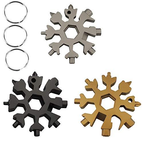 CCDSR- 3 Sätze 18-in-1 Edelstahl Schneeflocken Multi-tool, multifunktionswerkzeug schneeflocke, saker werkzeug schneeflocke, schneeflocken multifunktionswerkzeug