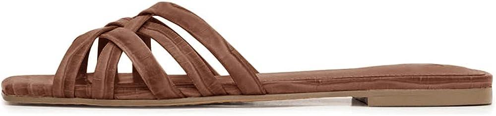 Womens Slides Sandals Casual Summer Multi Strap Slip On Crisscross Comfortable Flat Shoes