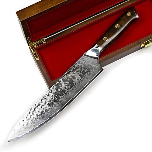 Stallion Damastmesser Ironwood Großes Chefmesser - 22 cm - Messer aus Damaststahl mit Griff aus Eisenholz in Edler Geschenkbox