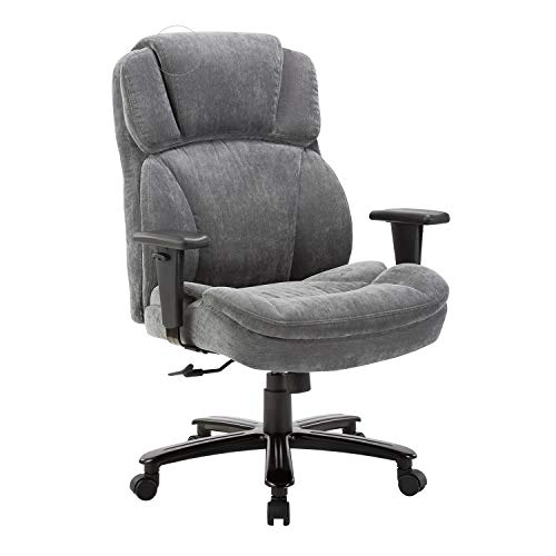CLATINA Ergonomic Big and Tall Executive Office Chair with Upholstered Swivel 400lbs High Capacity Adjustable Height Thick Padding Headrest and Armrest for Home