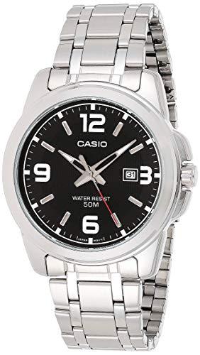 Casio Men's MTP1314D-1AV Silver Stainless-Steel Quartz Watch with Black Dial