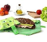 Roll'eat - Boc'n'Roll Kids Bolsa Merienda Infantil Porta Bocadillos Ecológico y Reutilizable sin BPA, Forest