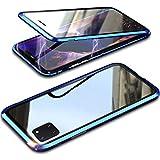 Hülle für Samsung Galaxy Note 10 Lite,Magnetische Adsorption Metallrahmen 360 Grad Komplettschutz Handyhülle Vorne hinten Gehärtetes Glas Transparente Schutzhülle Einteiliges Full Body Hülle,Blau