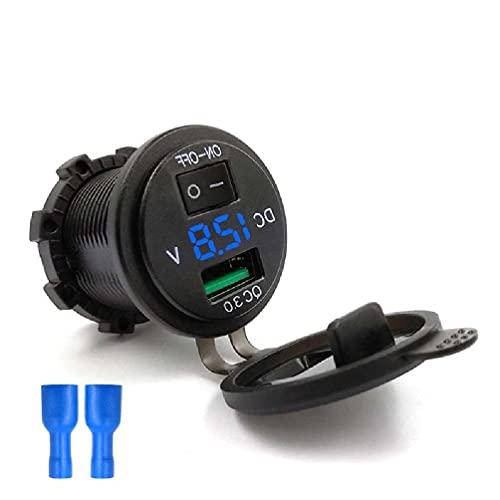 Yuwe Cargador de Coche Quick Charge 3.0 Fast 12V - 24V Dual USB 30W Adapter QC3.0 con Monitor de Voltaje para S10 S11, Huawei, HTC,