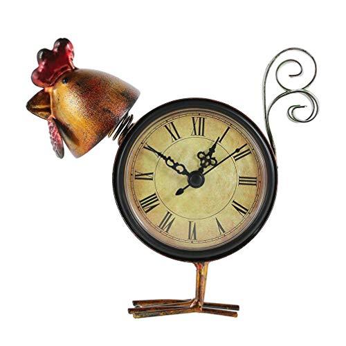 WINOMO Reloj de mesa retro vintage sin garrapatas en forma de pollo, reloj despertador para dormitorio, sala de estar, decoración de niños sin batería