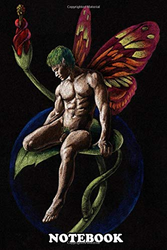 Notebook: Prismacolor Drawing On Black Paper Of A Handsome Fairy , Journal for Writing, College Ruled Size 6' x 9', 110 Pages