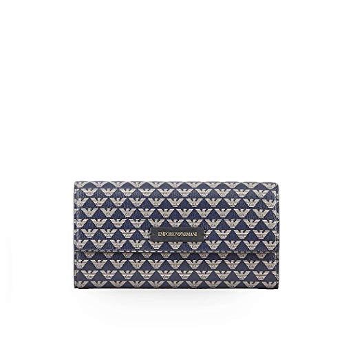 Emporio Armani Damen Accessoires Portafoglio Blu Ecru FW 19-20