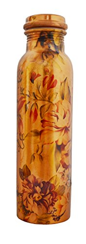 Pure Copper Flower Printed Water Bottle for Ayurvedic Health Benefits Joint Free Leak Proof (copper, 900 ml)
