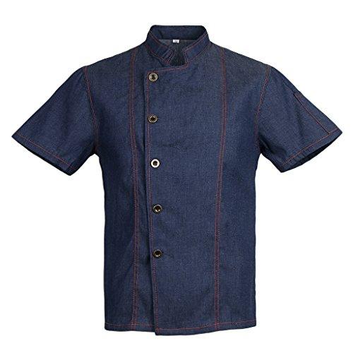 Homyl Männer Frauen Denim Kochjacke Knöpfe Bäckerjacke Gastronomiebekleidung Kochhemd Arbeitskleidung für Koch Köche – Blau, XL - 5